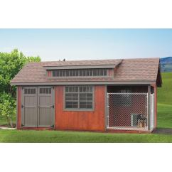 10x20 Stained Garden Shed with Dog Kennel Package and More