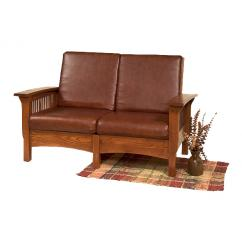 Wooden Love Seat with Cushion Shown in London Tan Leather