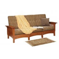 Wooden Sofa with Cushion Shown in 10-11 Myth Fabric
