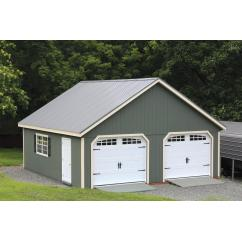 24x26 SmartPanel Double Wide New England Barn with Metal Roof and Heritage Garage Doors