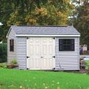 8x10 Vinyl A-Frame Shed Shown with Metal Ridge Vent and Tan Painted Doors