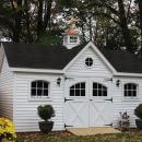 12x16 Traditional Vinyl Victorian Shown with Arched Wood Windows, Carriage House Doors and More